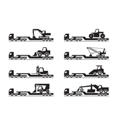 Transportation of construction machinery vector