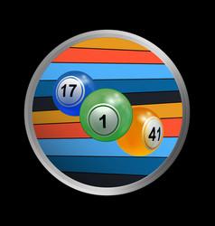 trio of bingo lottery balls on striped border vector image