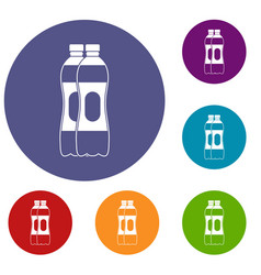 two plastic bottles icons set vector image