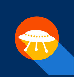 ufo simple sign white icon on tangelo vector image