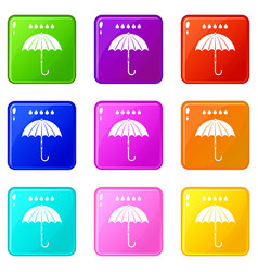 Umbrella and rain drops icons 9 set vector