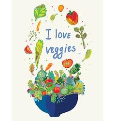 Vegetables card - vegetarian menu vector image
