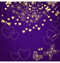 Violet grunge valentine frame vector image