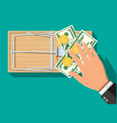Wooden mouse trap with money vector