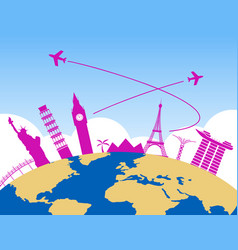 Worldwide air travel background vector