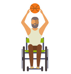 young disabled man on wheelchair with ball vector image