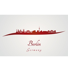 Berlin skyline in red vector image vector image