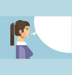 business woman speak chat bubble human resources vector image