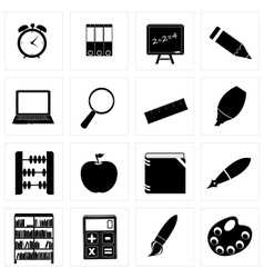 Different school icon silhouettes set3 vector image vector image