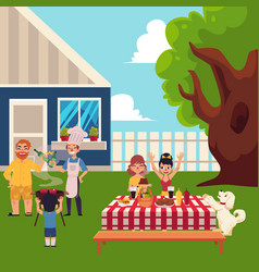 happy family having bbq picnic in the yard vector image