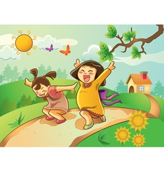 kids playing on the garden vector image vector image