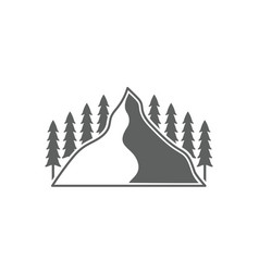 monochrome emblem of mountain and forest vector image