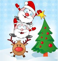 santa claus whit reindeer cartoon vector image