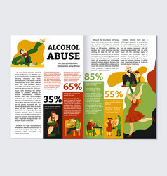 alcohol addiction magazine layout vector image