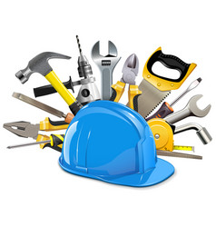 construction helmet with instruments vector image