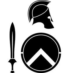 spartans helmet sword and shield vector image vector image