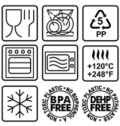 Symbols for marking plastic dishes vector image vector image