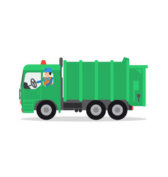 the worker on the garbage truck vector image