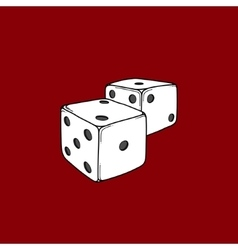 Two colored cartoon-style dice cubes vector image vector image