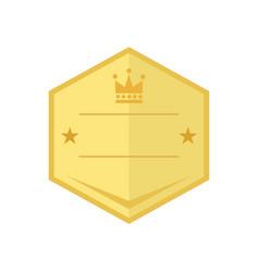 blank gold shield vintage badge emblem graphic vector image