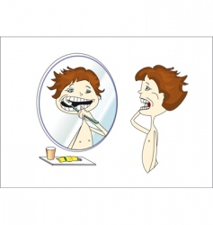 cleaning teeth vector image
