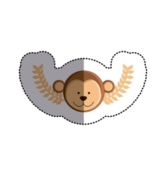 color sticker with monkey head and olive branchs vector image vector image