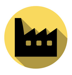 factory sign flat black icon vector image vector image
