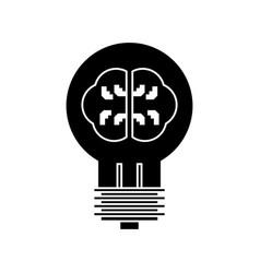 lamp with brain idea icon vector image vector image