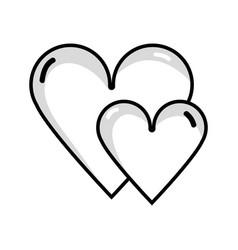 Line beauty hearts a romance decoration design vector