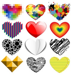 Set of twelve hearts vector image vector image