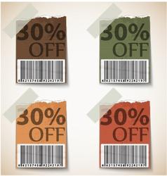 Vintage discount tags design vector