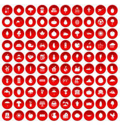 100 productiveness icons set red vector