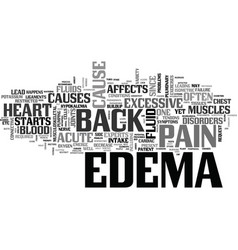 Acute edema and back pain text word cloud concept vector