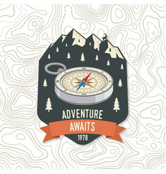 Adventure awaits camping quote print patch vector