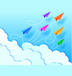 airplanesblue sky and clouds vector image