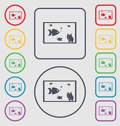 Aquarium Fish in water icon sign symbol on the vector