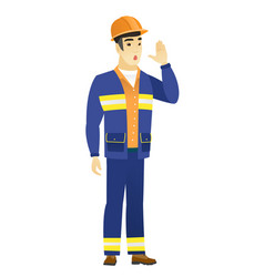 asian builder calling for help vector image