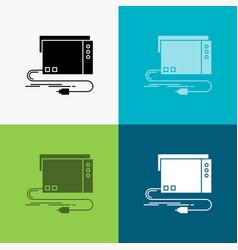 Audio card external interface sound icon over vector