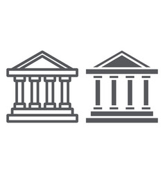 bank building line and glyph icon architecture vector image
