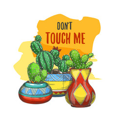 Banner with cactus in pots or sticker with cacti vector