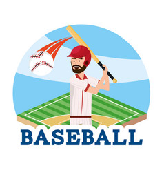 Baseball player with professional equipment to vector