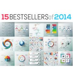 big set 15 modern infographic business design vector image