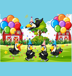 bird group in party theme cartoon character on vector image