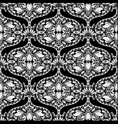 Black and white oriental style floral paisley vector