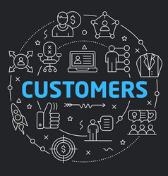 Black line flat circle customers vector