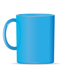 Blank bright blue photo realistic cup isolated on vector