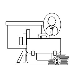 business and office in black and white vector image