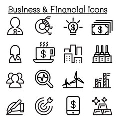 business financial icon set in thin line style vector image