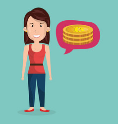 businesswoman with bitcoin business vector image