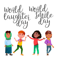 calligraphy and laughter character child vector image